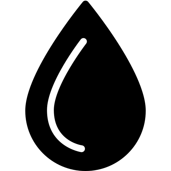 """Woda icon. This icon representing """"Water"""" is circular with a ninety degree angle formed on top, creating a teardrop or raindrop shape. Inside the shape is a curved line, indicating the round shape of a water droplet."""