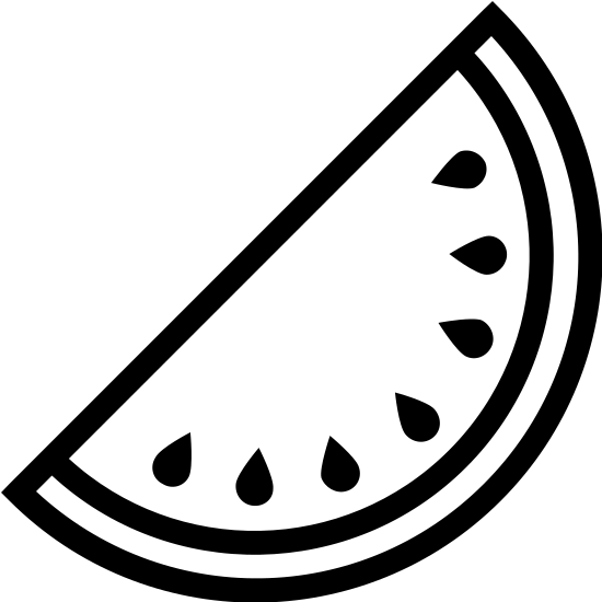 Arbuz icon. There is half a circle with the round part on the left side. Inside is a thin line representing the rind and small dots as seeds of a watermelon.