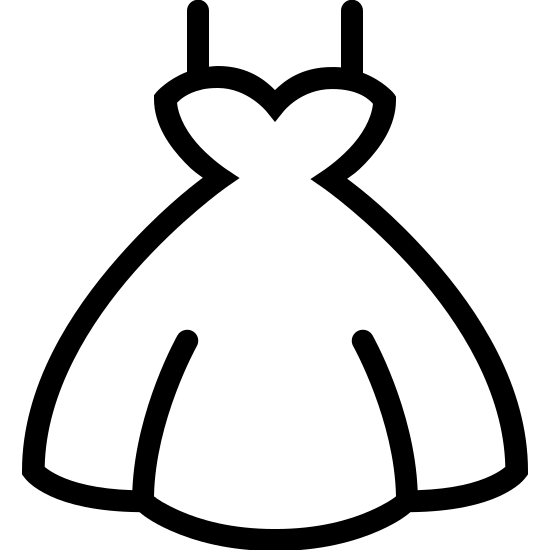 Wedding Dress icon. This is an image of a heart shape at the top extending into a fan shape. It has two lines located at the top right and left of the image the starts at the top of each side of the heart shape going up towards the top of the screen