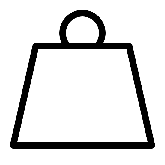 Waga icon. This is an icon symbolizing a heavy weight. It is a trapezoid shape with a loop on the top. It has the letters 'kg' on it signifying that this is a kilogram weight.