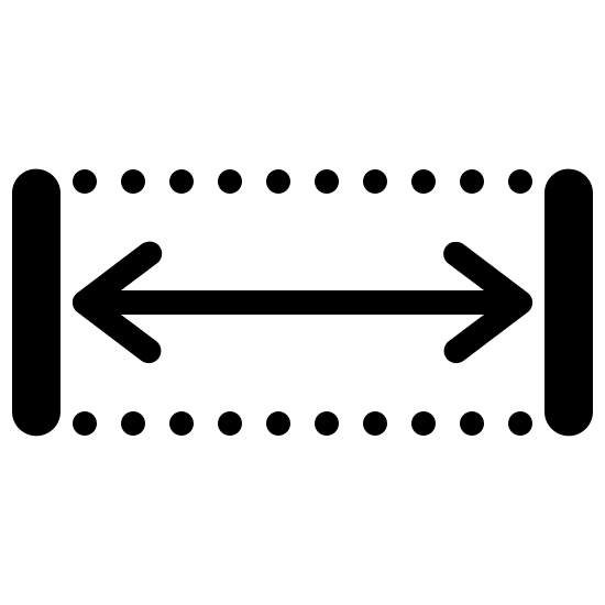 Width Filled icon. The icon is comprised of two vertical lines, separated by a long expanse. Two dotted lines bridge the corners of the vertical lines, with a double-headed arrow stretching across the middle of the two lines. The icon represents the width, or horizontal distance, of an element.