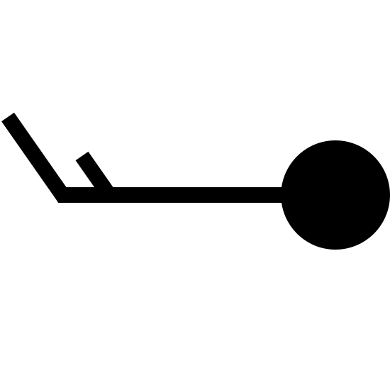 Wind Speed 13-17 Filled icon. A stick figure sideways with a circle for a head on the right. The legs are sticking up diagonally to the upper left. First a long leg at the very left end, then a shorter leg after it.
