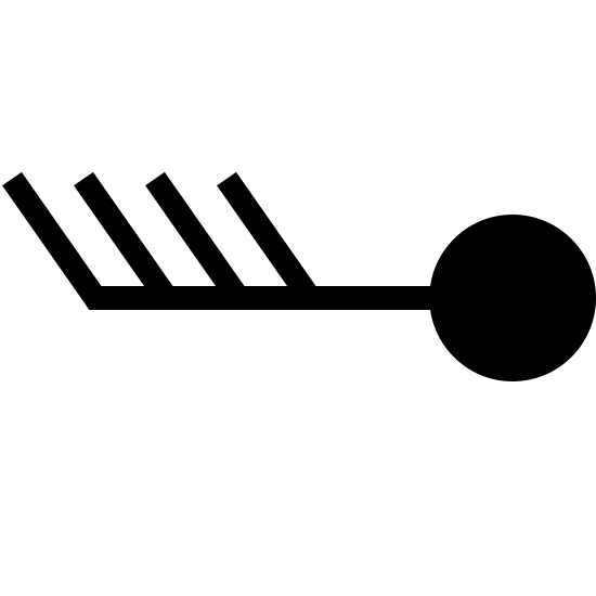 Prędkość wiatru 38-42 icon. This is a Wind Speed 38-42 logo. It has a small circle with a line jutting out to the left with the other lines on top jutting out at an angle. It looks like a feather attached to a golf ball.