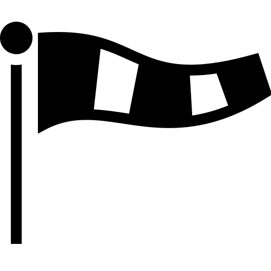 Rękaw - wskaźnik wiatru icon. This looks like a vertical line with a small circle at the top of it. There is a wavy rectangle to the right of the small circle. The rectangle is split into 5 sections. 3 of the 5 sections are dotted.