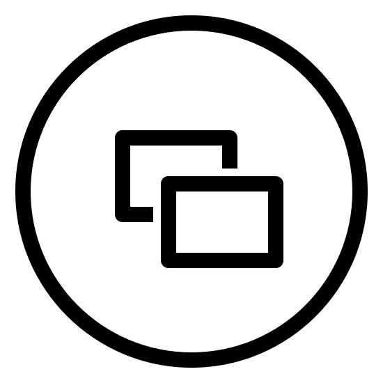 Xbox Windows icon. The icon is that of a circle and in the middle of the circle are two rectangles overlapping each other. The first rectangle is in the middle with the second rectangle positioned to the lower right of the first and overlapping the bottom-right portion of that rectangle.