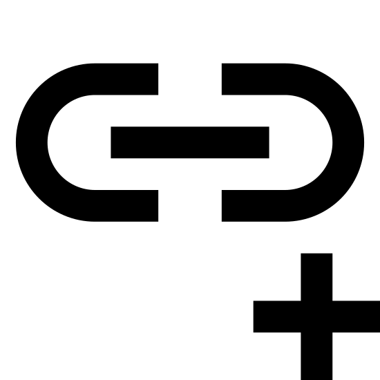 Dodaj link icon. It is an image of a piece of a chain link and to the bottom right of this piece of chain link there is a small addition symbol inside of a circle.
