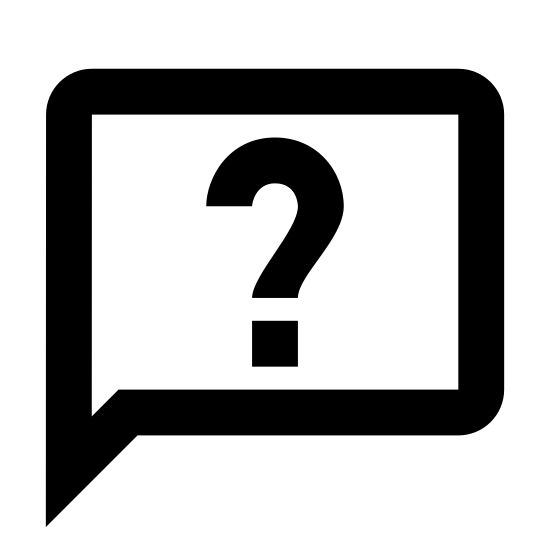 Zadaj pytanie icon. The icon is shaped like a circle but towards the bottom left side it curves outwards to form a point. In the inside of the circle shape is a question mark directly placed at the center.