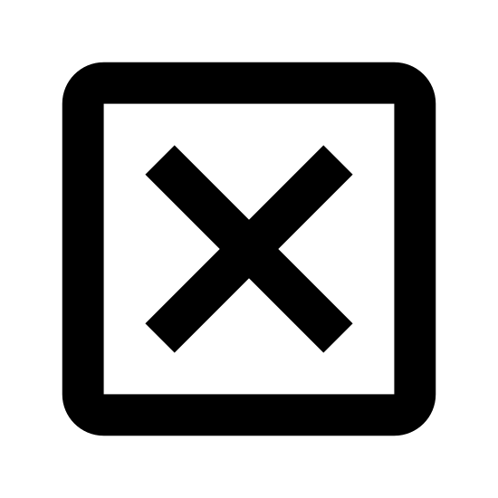 Zamknij okno icon. The icon is a close window symbol, which consists of a box or square shape. Inside the square shape there is a black X in the middle. The X doesn't completely fill the box but is right in the center of the box.