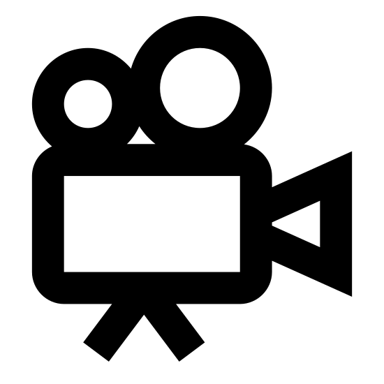 Movie Projector icon. This logo indicates a movie projector from the side. The center is a large square as a base, with two legs holding it up. At the front of the square is the lens in which the movie projects through, and the top of the square is two circles that the film runs through and feeds into the machine.