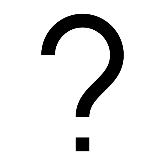 Fragezeichen icon. A question mark is depicted. There is a curvy line that starts at the top left, flows clockwise about 270 degrees, then curves sharply downward and ends. Below this ending of the line is a dot.