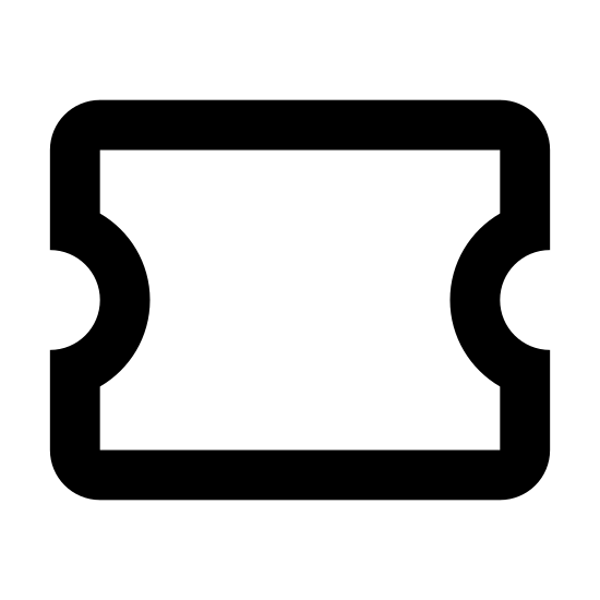 Ticket icon. The ticket icon starts as a rectangle shape. On each of the short ends, a semi-circle has been cut out. 1/5 from the right most short end is a dashed line, indicating where to tear it,