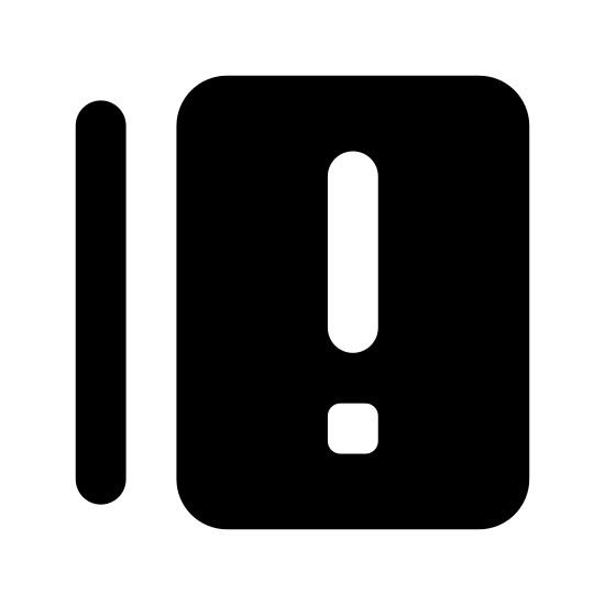 Answers icon. The icon is shaped like a horizontal rectangle with an exclamation point at the center of it. The is another horizontal rectangle that is mostly hidden underneath the main rectangle shape.