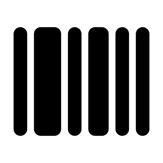 Barcode icon. There are nine vertical bars placed next to each other with spaces between each of them. The bars are of varying thickness and form a rectangular shape. The order is narrow bar, slightly thicker bar, thick bar, narrow bar, slightly thicker bar, narrow bar, slightly thicker bar, narrow bar, narrow bar.