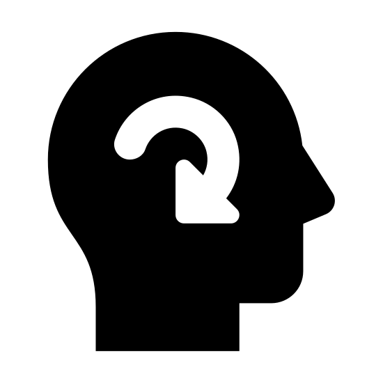 Mind icon. This icon is in the shape of a person's head. The top of the head is rounded, the sides jut out like ears and the bottom of the face is also rounded. In the center of the open face shape is a circular arrow. The arrow starts from the right, goes around and comes back to point to the right/downward.