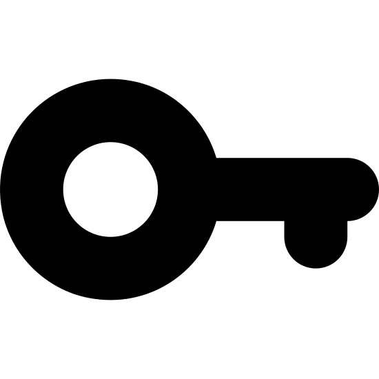 Password 1 icon. The icon has a skinny rectangle with curved ends which is connected to a circle with a smaller corcle at the center of it. At the bottom left side of the skinny rectangle is a smaller rectangle shape sticking upwards.