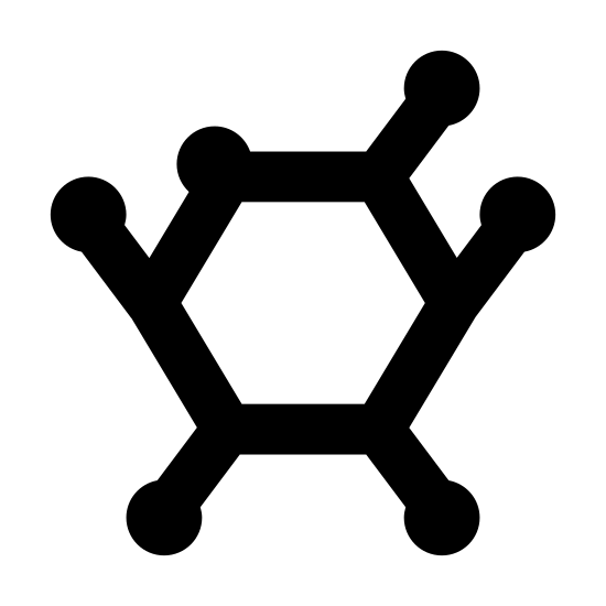 Peptyd icon. The peptide logo starts with a Pentagon in the center. Out of each corner extends a line ending and starting with a circle. Each line begins the start of a new Pentagon, as shown by one extension.