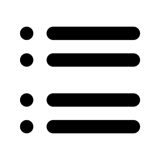 Grupa pytań icon. The image is of four little square in a horizontal line on the left. To the right of each square is a single solid line. The squares are not touching each other. The lines are not touching each other or the squares.