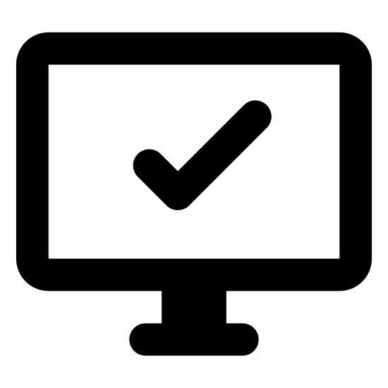 System Information icon. The logo is simply a computer monitor screen with a large checkmark in the center of the screen. The check mark takes up the whole screen space of the monitor in the logo.