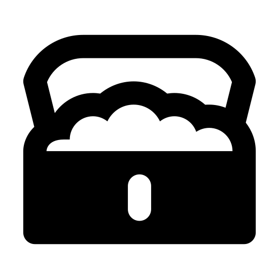Skrzynia skarbów icon. The icons shape is a rectangle with two circle segments at the bottom right and left corners, a semi oval at the top center with a dot in the middle. On top of the rectangle is a cloud like shape the looks like it is popping out the top. Two other rectangle shapes make up the lid of the icon.