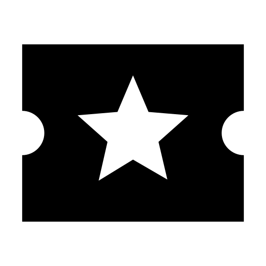Movie Ticket icon. A starred ticket is an icon of a rectangular shaped object, but the smaller ends of the rectangle there are half circle cut outs Inside the rectangle there is a dash line to show the ticket needs to be tear, and the center of the ticket there will be a 5 point start.