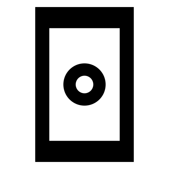 Touchscreen icon. Vertically rectangular box with another vertically rectangular box inside of it. there is a small dot at the top center between the box margins and a dash one third of the length of the bottom in the center also between the margins.