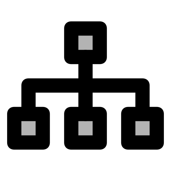 Flow Chart icon. A large box sits above three smaller boxes. A line is drawn vertically from the bottom of the top box to the top of the middle box. Another line intesects the middle of the line horizontally and then turns at right angles and joins the other two bottom boxes.