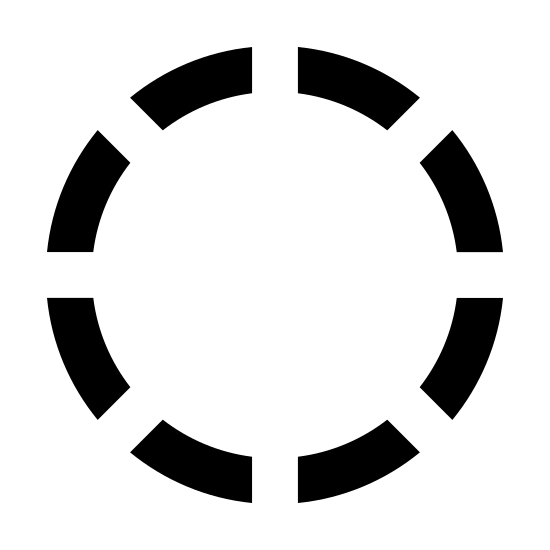 Inactive State icon. This can be described as a series of small line segments placed at equal distance in such a way that they forms a circle.
