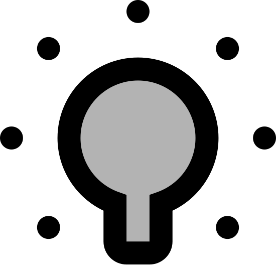 Light On icon. There is a light bulb facing upwards. Around the light-bulb there is seven visible diagonal lines all beaming off in different directions giving the idea of emitted light.