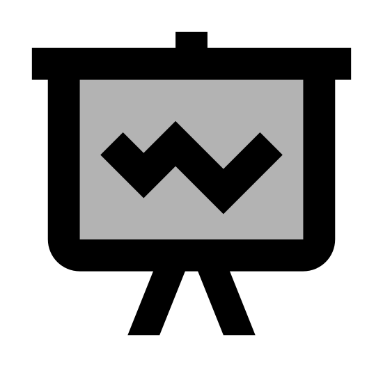 Statistics icon. This logo is rectangular, with a line chart and statistics indicated by angled lines within the rectangle, with a base indicated by lines across the bottom of the square to the floor.