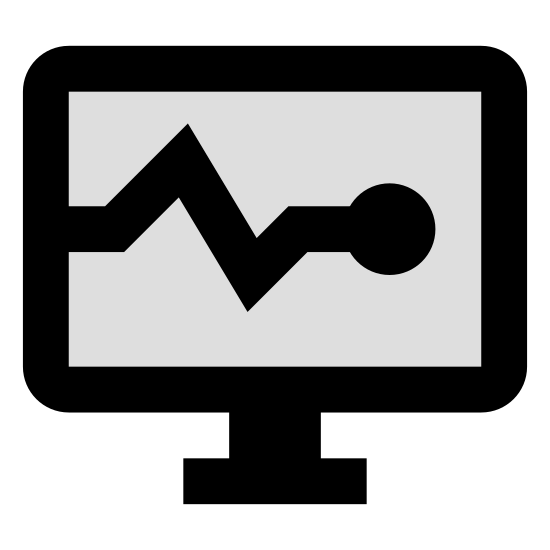 System Task icon. There is a square computer monitor included a stand at the bottom. The monitor has a circular power button on the bottom right part of the square frame. On the screen part is a line similar to an EKG line going across horizontally, moving up then down then leveling out near the end on the right.