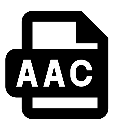 AAC icon. The icon is shaped like a rectangle standing upright. The top right end of the rectangle is slightly folded inward. A little lower than the center of the icon are the capital letters AAC.