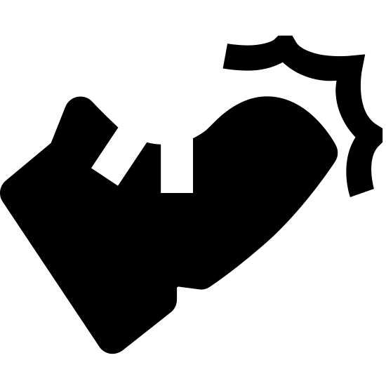 Combat icon. The icon is a picture of the logo for Action 2. The icon is what appears to be a shoe or a boot. The boot is facing towards the right, with an angle like it just kicked something.