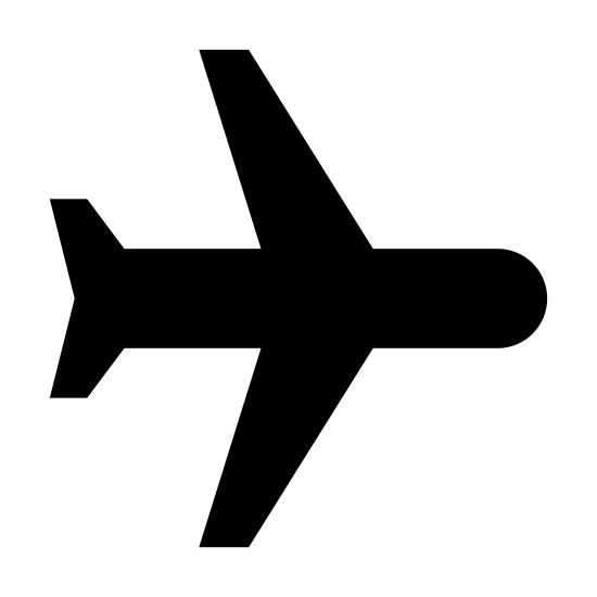 Tryb samolotowy - włączony icon. This icon may be used to inform a cell phone user that their cellular signal is turned off. The logo is the outline of a typical commercial airplane that is pointing to the right.
