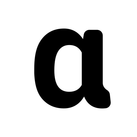 Alfa icon. Alpha, the first letter of the greek alphabet. Imagine the number zero, but on the right side, directly in the middle, a straight line extends nearly tangential to the zero, on a slight angle upward and to the right. In the same place, below, another line curves downward and to the right. Imagine a zero and a backward letter J fused together.