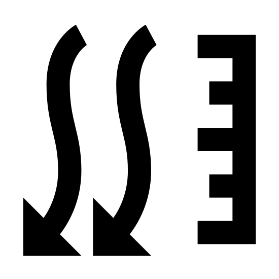 Pression atmosphérique icon. There are three squiggly vertical lines that are side by side and have arrows pointing downward. To the left of these lines is a vertical line with seven lines pointing out from it, towards the three arrows. The seven lines vary in size with the longest of the seven being on the top, middle, and bottom. The other four lines are all the same size with two being in between the top and middle longer lines and the other two being in between the middle and bottom longer lines.
