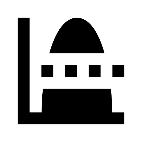 """Valeur moyenne icon. This icon shows a graph with a normal """"L"""" shaped line. On the graph there is a large curve which starts the graph at the very bottom, peaks at the top of the graph, then curves back down to the bottom. In the center, running horizontally, there is a dotted line to indicate the average value."""
