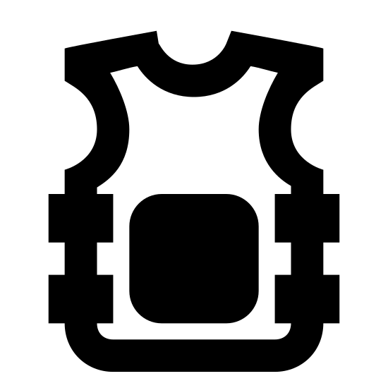 """Bulletproof Vest icon. It is like a shirt, but sleeveless. There is a big square in the middle that is presumably for the armor part of the vest, and it takes up much of the """"stomach"""" area. Both sides have two sets of small squares that are aligned on top of one another on either side of the vest."""