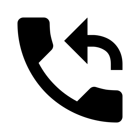 Callback icon. The icon is a logo for the Callback Feature. The icon is what appears to be the shape of an old phone. The phone is at an angle with the top of it to the top left. There is a curved arrow that starts at the mouthpiece and points to the top.