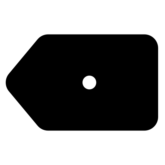 Anuluj ostatnią cyfrę icon. This icon is depicting a cancel last digit button typically found on an ATM. The icon is rectangular shaped with its left side forming a point and the outline of a circle in the middle of the shape.