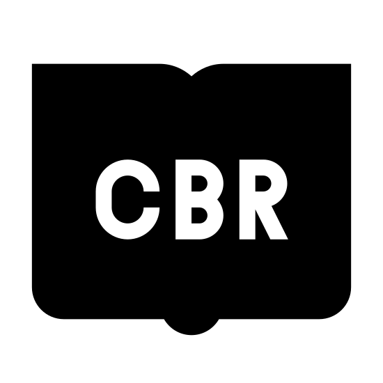 CBR icon. An square with the right side having corners and the left side having curved corners. In the middle, the letters CBR are written. On the left bottom curved corner another line extends parallel to the bottom of the square.