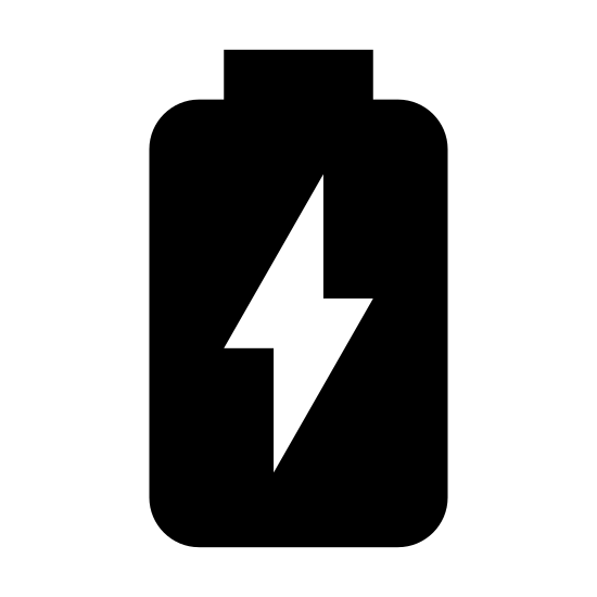 Charging Battery icon. This is a reduced icon showing the rectangular outline of a battery with the bump of the battery pointing from right to left. This icon contains a lightening symbol in black inside the image.