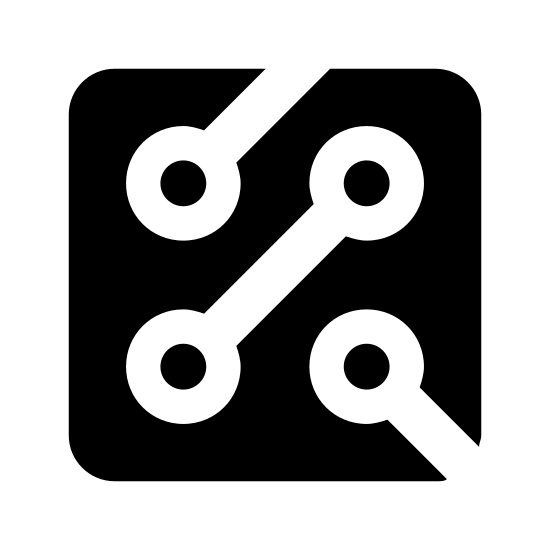 Circuit icon. This is a photo of a square with two openings. One opening is on the top, one is in the lower right corner. The openings go into circles with dots in the middle of them.