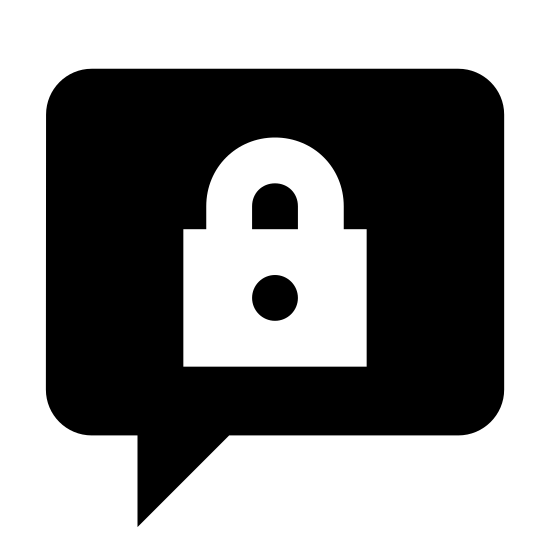 Closed Topic  icon. This icon is a circular speech bubble, with a curved point at its bottom coming from the bottom left. Inside the speech bubble is an icon of a lock, which is a small rectangle with a hole in the middle and a curved line on top.