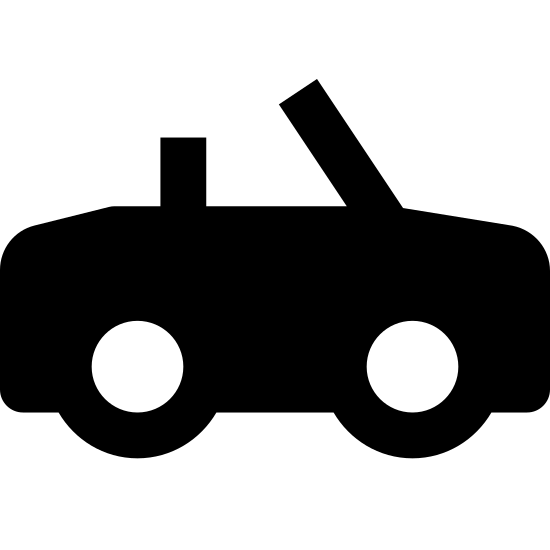 Convertible icon. There's a rectangle with two circles on the bottom- one on the left and one on the right to symbolize wheels. On the top of the rectangle there is a slanted line where the window would be on a car and a small triangle symbolizing the car seats.