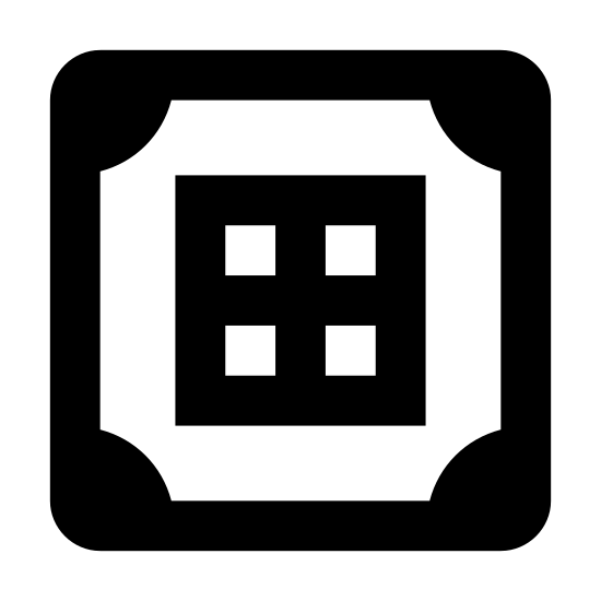 Crafting Table icon. The icon is shaped like a three-dimensional cube. It is situated so the top is tilted to be clear to the viewer, and one corner is pointed directly up, the opposite towards the viewer. There is a three by three grid centered on top of the cube. Each corner of the top of the cube has a semicircular mark by it. Each visible side of the cube has one vertical line down its center.