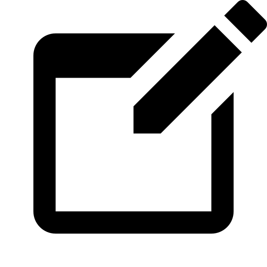 Создать новый icon. The icon is a picture of a logo for Create New. The icon is in the shape of a square. The square has a pencil located at the top right. The pencils tip is facing down to the left.