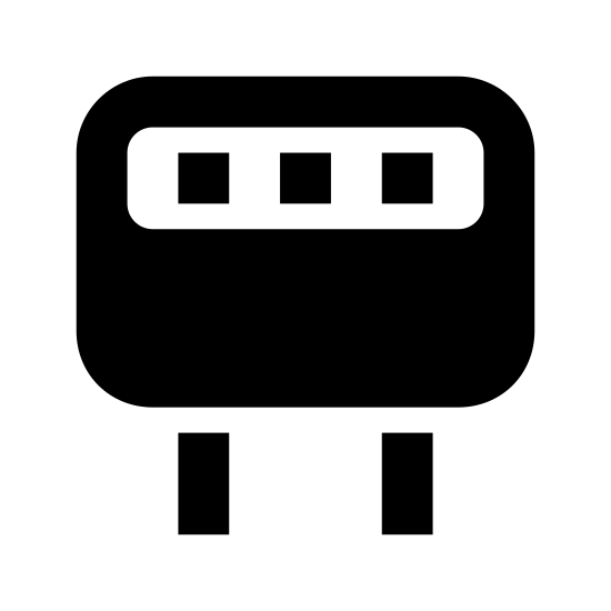 Rezonator kwarcowy icon. There is a rectangular shape with rounded corners, and inside the top of it there is a long oval that has five small lines spread evenly inside. At the bottom in the middle of the rectangle underneath it, there are two parallel lines that are just as long as the rectangle.