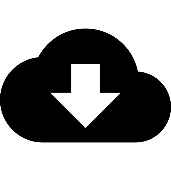 Pobierz z chmury icon. The image is of a single fluffy cloud. Inside the cloud is an arrow. The arrow is pointing down. The rounded parts of the cloud are on the top. The bottom of the could is a straight flat line.