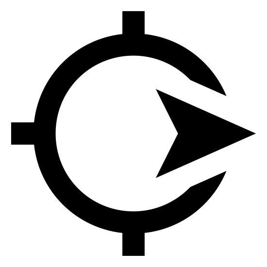 Navigate icon. This symbol is like a bare-bone compass, with a point on north, west and south and with the arrow facing East.