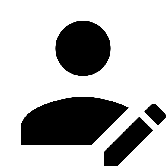 Registration icon. The icon is a human-shape silhouette that starts from the top of the head to the shoulders. At the bottom right corner of the silhouette is a thin rectangle shape with a curved top and a pointed bottom. The thin rectangle shape slightly overlaps the right shoulder of the silhouette.